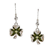 Solvar Sterling Silver Shamrock w/ Peridot & White Topaz Earrings - J274002