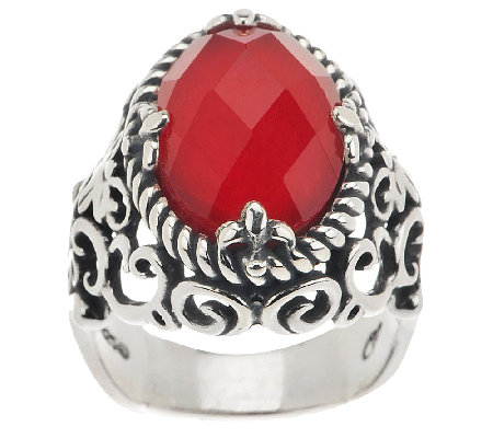 Carolyn pollack red coral doublet sterling ring for Carolyn pollack jewelry qvc