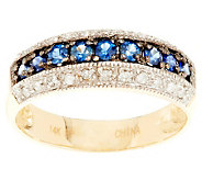 0.25 ct tw Blue Sapphire and Diamond Band Ring, 14K - J285002