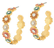 Joan Rivers Enamel Bouquet Hoop Earrings - J287402