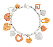 Sterling Polished Heart Design Charm Bracelet - J290202