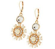 Susan Graver Floral Cabochon Statement Earrings in Goldtone - J291002