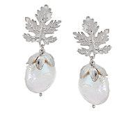 Ross-Simons Sterling 15.0mm Cultured Pearl Leaf Design Drop Earrings - J291802