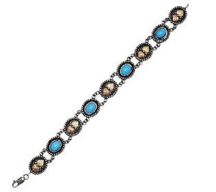 "Product image of Black Hills 7-3/4"" Sterling Sleeping Beauty Turquoise Line Bracelet, 12K"