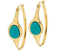 Veronese 18K Clad Turquoise Cabochon Hoop Earrings - J293502