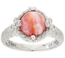 Judith Ripka Sterling Diamonique & Rhodochrosite Cabachon Ring