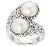 Judith Ripka Sterling Diamonique & Mabe Pearl Bypass Ring - J294002