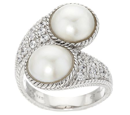 Judith Ripka Sterling Diamonique & Mabe Pearl Bypass Ring