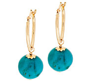 VicenzaGold Turquoise Bead Drop Hoop Earrings 14K Gold - J295202