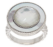 Judith Ripka Sterling White Mother-of-Pearl Doublet Ring - J295502