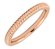 Simply Stacks Sterling 18K Rose Gold-Plated 2.25mm Ribbed Ring - J298902