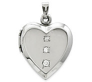 Polished Heart Locket with Diamond Accents, 14KWhite Gold - J311802