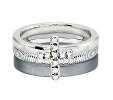 Simply Stacks Sterling Diamond Cross Ring Set