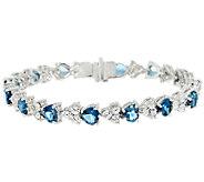Judith Ripka 7 1/4 Sterling Diamonique & Gemstone Heart Tennis Bracelet - J320302