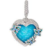 Judith Ripka Sterling & Turquoise Doublet Heart Charm - J320502