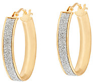 Vicenza Gold 3/4 Glitter Oval Hoop Earrings, 14K - J321202
