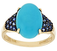 As Is Sleeping Beauty Turquoise & Blue Sapphire Ring, 14K - J321302