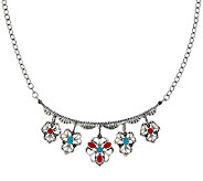 Sterling Silver Multi-Gemstone Charm Necklace by American West - J324002