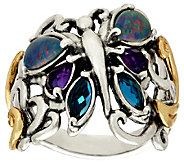 Carolyn Pollack Sterling/Brass Gemstone Butterfly Ring - J324102