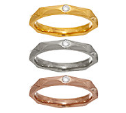 Stainless Steel Set of 3 Tri-Color Pyramid Stack Rings - J324202