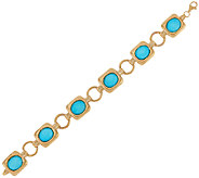 14K Gold Large Sleeping Beauty Turquoise Doublet Bracelet - J324802