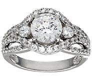 Diamonique 2.20 cttw Halo Design Ring, Sterling - J324902