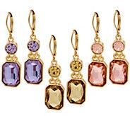 Joan Rivers Set / 3 Double Drop Emerald Cut Lever Back Earrings - J327402