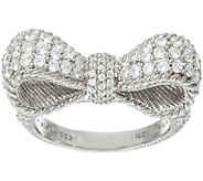 Judith Ripka Sterling 1.45 cttw Diamonique Pave Bow Ring - J327902