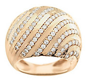 As Is Italian Silver Sterling Domed Pave Crystal Swirl Design Ring - J328902