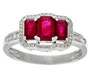 Emerald Cut Precious Gemstone & Diamond Ring 14K, 0.90 cttw - J329402