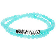 Luv Tia Sterling & Amazonite Stretch Bracelet - J330202