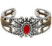 Sterling & Brass Leaf & Coral Design Cuff by American West - J330502