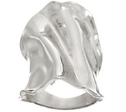 Italian Silver Bold Polished Elongated Sculpted Ring, Sterling - J332302