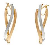 14K Gold Two-tone Twisted Elongated Hoop Earrings - J334702