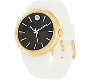 Philip Stein Womens Goldtone Watch w/ Simulated Rubber Strap - J334802