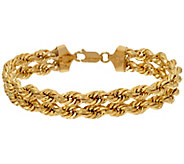 As Is 14K Gold 6-3/4 Polished Double Rope Bracelet, 6.3g - J347802