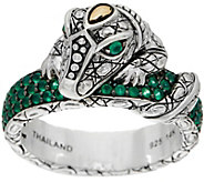 JAI Sterling Silver & 14K Croco Pave Gemstone Band Ring - J350402