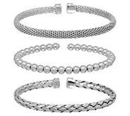 Italian Silver Set of Three Cuff Bracelets, Sterling, Boxed, 27.6g - J351802