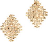 Imperial Gold Diamond Shape Satin Stud Earrings, 14K Gold - J353702
