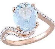 14K 2.75 ct Aquamarine and 1/3 cttw Diamond Bypass Ring - J377102