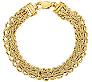 Italian Gold Polished & Textured Woven Link Bracelet 14K, 8.3g - J377702