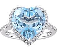 14K 6.85 ct Blue Topaz & 1/4 cttw Diamond HeartHalo Ring - J377802