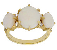 Judith Ripka Sterling 14K Clad Opal and Diamonique Ring - J381202
