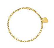 14K Gold Curb Link Heart Dangle Bracelet, 2.3g - J381502