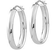 Italian Gold Wide Oval Hoop Earrings, 14K - J381702