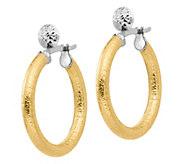 Italian Gold 1-1/8 Two-Tone Textured Hoop Earrings, 14K - J381802
