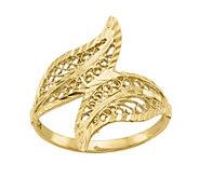 14K Gold Leaf Bypass Ring - J382102