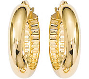 Italian Gold 1 Oval Hoop Earrings 14K, 3.5g - J382202