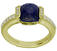 Judith Ripka 14K-Clad Cushion-Cut Lapis & Diamonique Ring - J383602