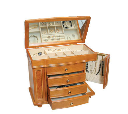 Mele Amp Co Honey Oak Finish Jewelry Box J102103 Qvc Com